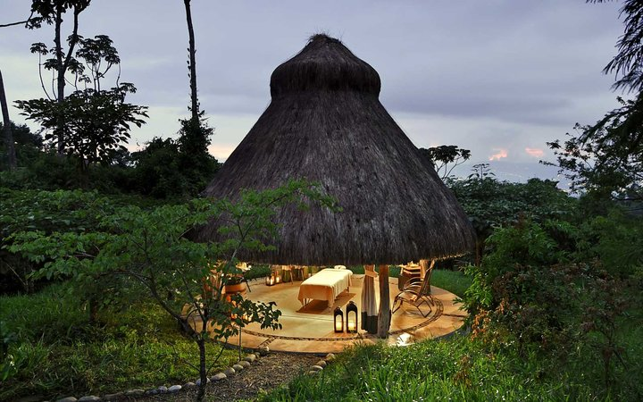 Outdoor treatment space at the Hacienda AltaGracia resort in Costa Rica