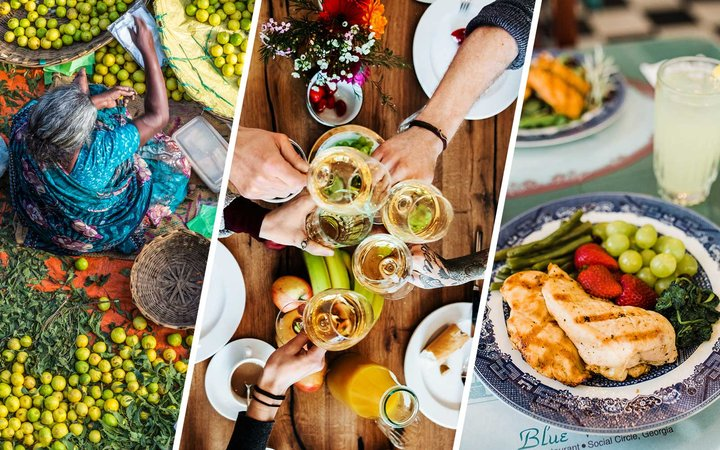 Markets in India, Wine in Germany, Southern cooking in the USA
