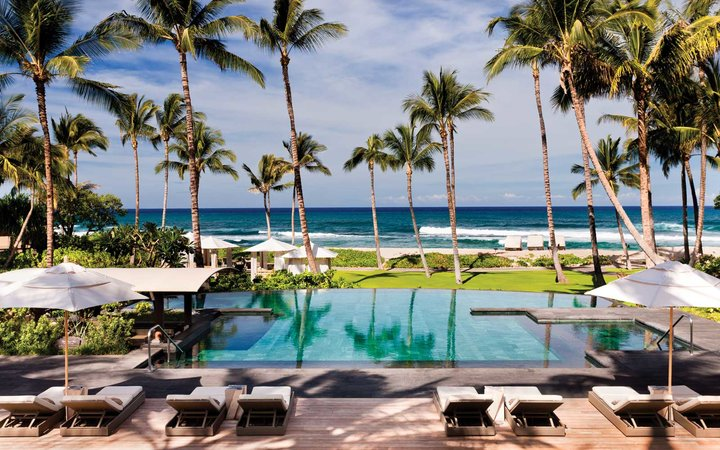 View to the ocean from a pool at the Four Seasons Resort Hualalai