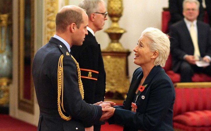 Dame Emma Thompson and Prince William at investiture ceremony
