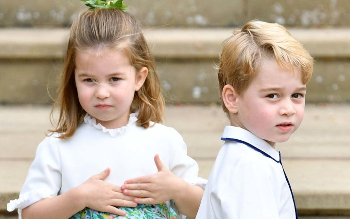 Princess Charlotte of Cambridge and Prince George of Cambridge attend the wedding of Princess Eugenie of York and Jack Brooksbank at St George's Chapel