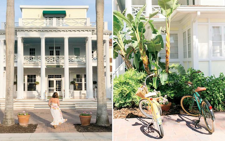 Entrance and bikes at the exclusive Gasparilla Inn, in Florida