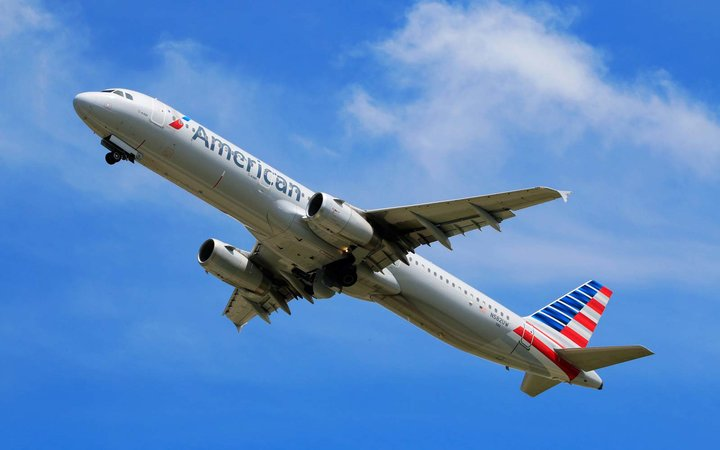 American Airlines A321 taking off at Charlotte Douglas International Airport