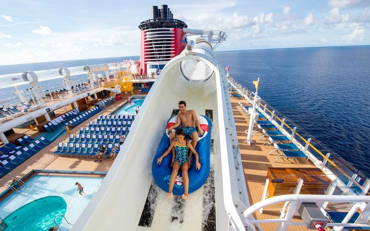 Aquaduck water coaster on board Disney Cruise Line