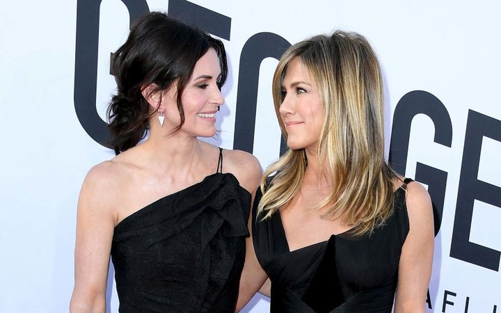 Courteney Cox and Jennifer Aniston attend the American Film Institute's 46th Life Achievement Award Gala Tribute to George Clooney at Dolby Theatre  on June 7, 2018 in Hollywood, California