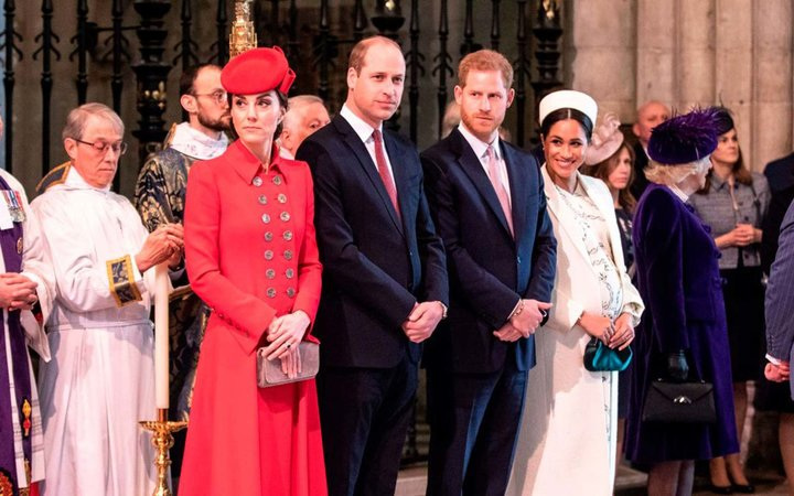 Britain's Catherine, Duchess of Cambridge, Britain's Prince William, Duke of Cambridge, Britain's Prince Harry, Duke of Sussex, and Britain's Meghan, Duchess of Sussex attend the Commonwealth Day service at Westminster Abbey