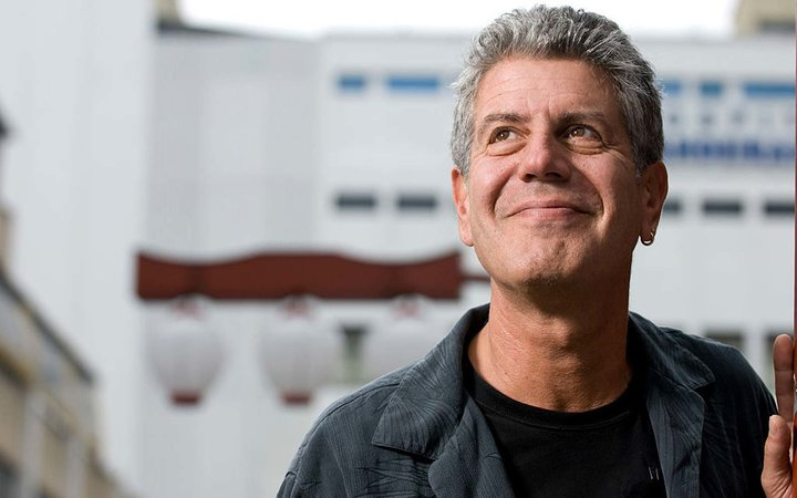 American Chef Anthony Bourdain in the Liberdade area of Sao Paulo, Brazil.