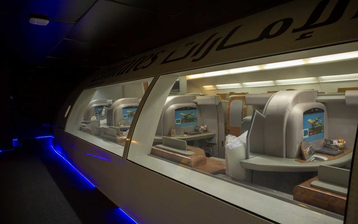 Full-scale replicas of the airlines' aircraft interiors come outfitted with the full setup for each cabin.