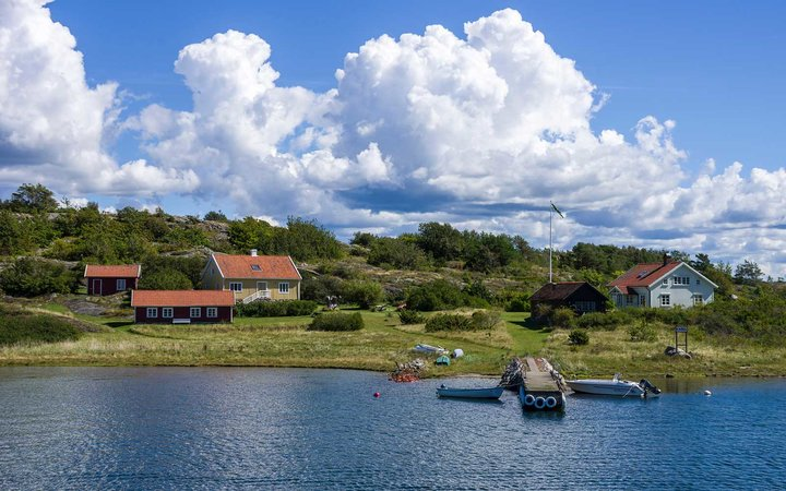View of cottages near Ekenas, South Koster island, Bohuslan County, Sweden.