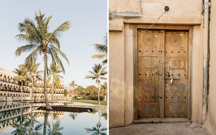 Scenes from Oman (Al Bustan Palace, and the door of a traditional home)