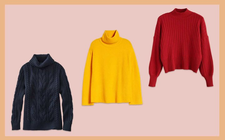 Navy, Yellow, and Red Turtleneck Knit Sweaters