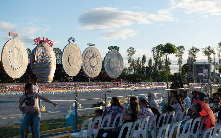 Crowds at the Giant Lantern Festival in the Philippines