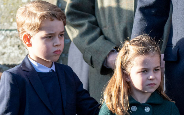 Prince George of Cambridge and Princess Charlotte of Cambridge attend the Christmas Day Church service at Church of St Mary Magdalene