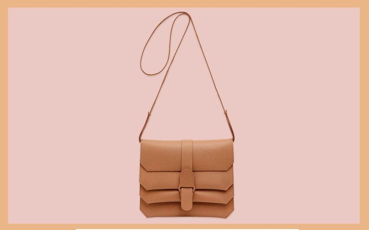 Camel Leather Crossbody Bag