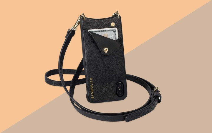 Black Leather Phone Case and Wallet Crossbody