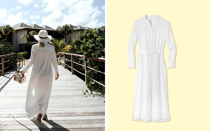 White Long Cover-up Dress