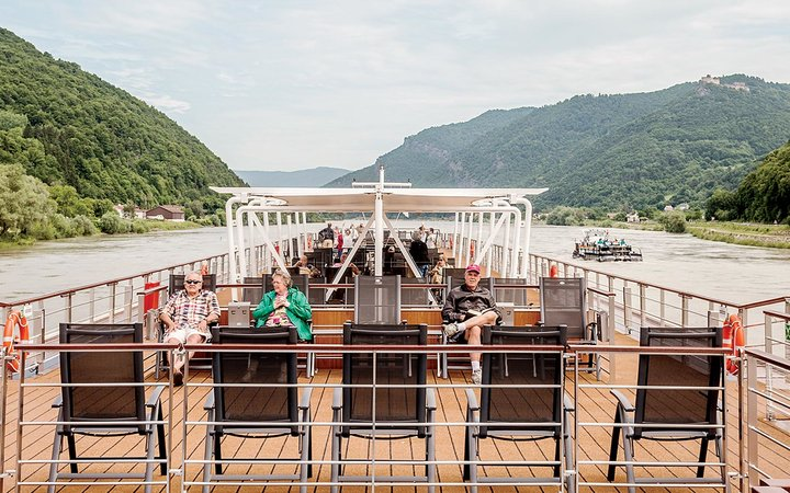 Seniors on a river cruise on the Danube