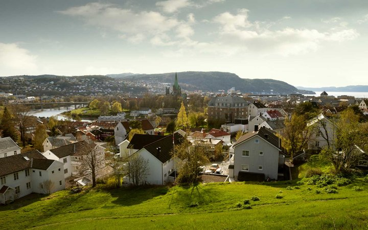 Aerial panorama of Trondheim city, Norway in spring
