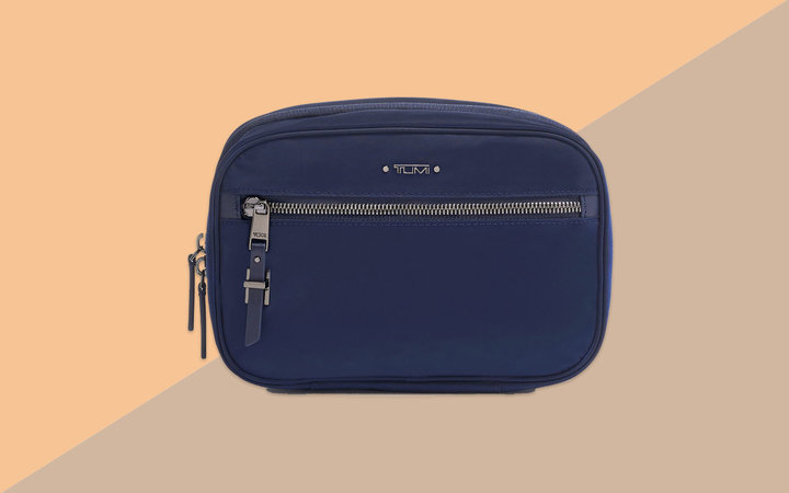 Navy Nylon Zippered Cosmetic Bag