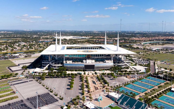 Aerial View on Hard Rock Stadium Super Bowl LIV. Stadium for Miami Open 2020