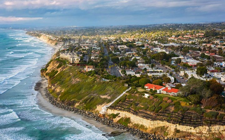 The northern San Diego County beach city of Encinitas located on the cliffs along the Pacific Ocean approximately 30 miles north of downtown San Diego.
