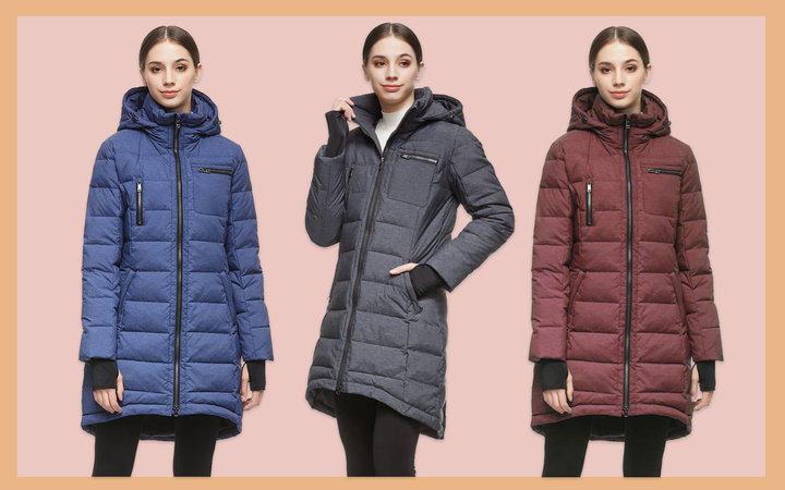 Women's Long Parka in Blue, Grey, and Red