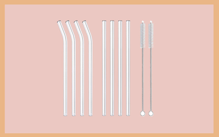 Hiware Reusable Glass Drinking Straws Tout