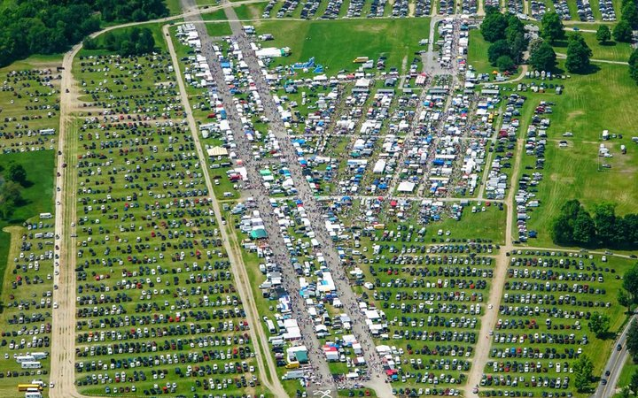 Aerial view of airport runway at Stormville Airport Flea Market
