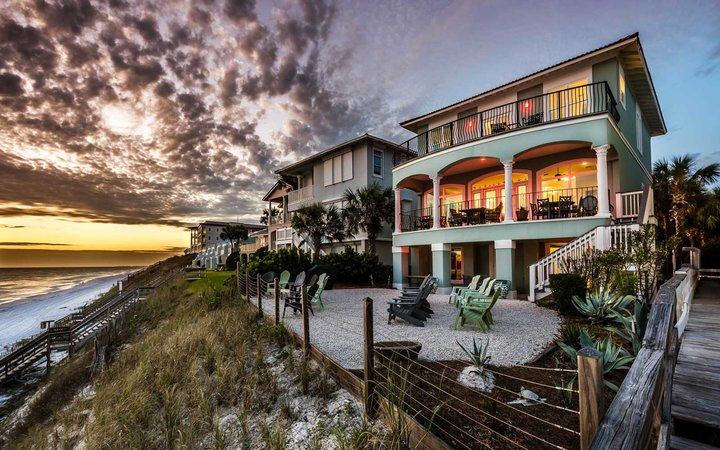 Santa Rosa Beach House exterior with sunset
