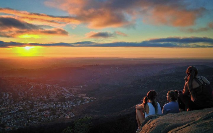 Cowles Mountain Summit at sunset. The highest point in the city of San Diego and a popular urban hike.