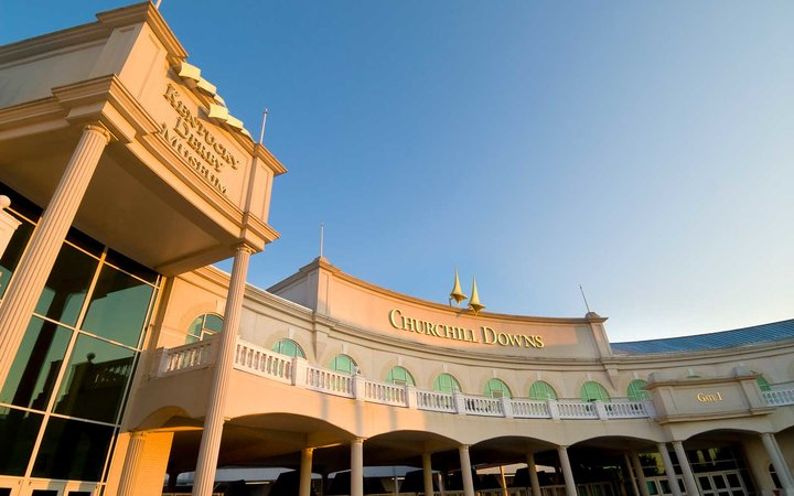 Front entrance of Churchill Downs a thoroughbred racetrack famous for hosting the Kentucky Derby