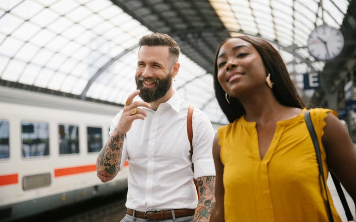 Passengers at Germany train station with Eurail Group