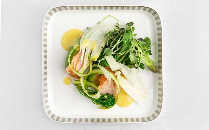 Meal made with greens from AeroFarms for Singapore Airlines