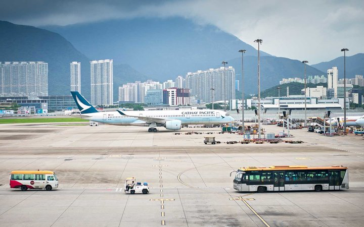 Cathay Pacific plane in Hong Kong