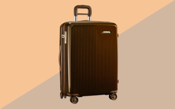 Dark Brown Hardside Checked Luggage