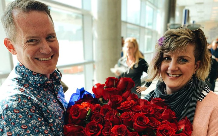 Kyle with his wife at Southwest Gate in Lovefield Airport, Dallas, Texas