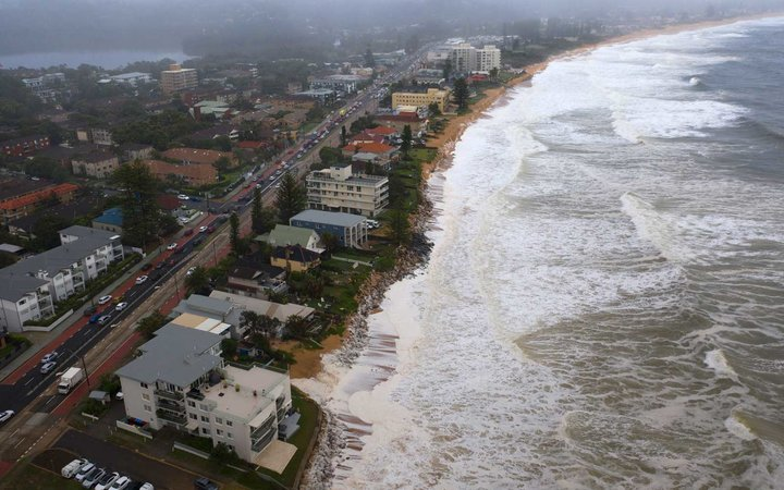 Beach erosion is seen at Collaroy on the Northern Beaches on February 10, 2020 in Sydney, Australia. Homes were evacuated after a landslip at Bayview.