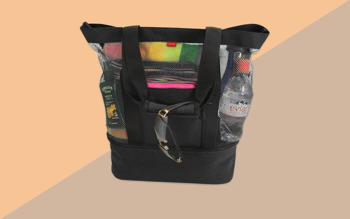Black Mesh Beach Tote