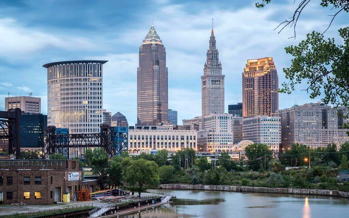 Cleveland Skyline view from a bridge on the Cuyahoga river