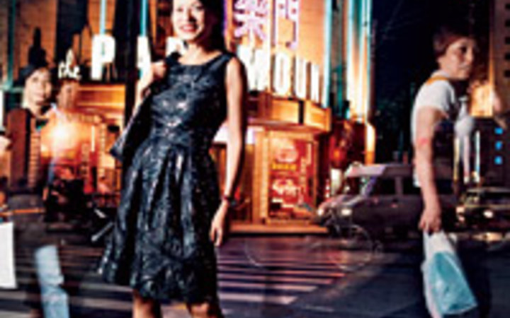 Greg Girard Vivienne Tam in front of the 1930's Paramount, her favorite dance spot in Shanghai.