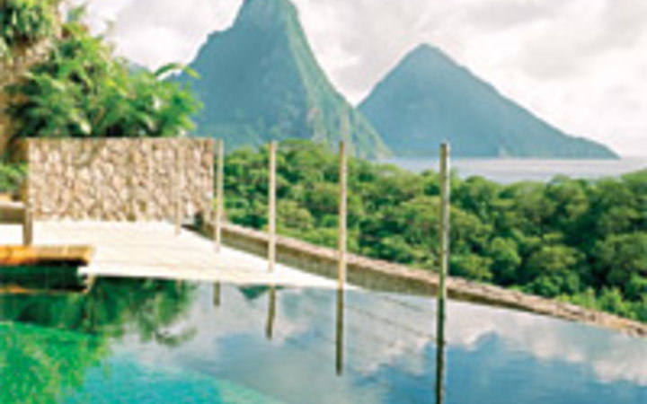 Ben Hoffmann A view of St. Lucia's Pitons, seen from the infinity pool in one of the suites at Jade Mountain, part of the Anse Chastanet Resort.