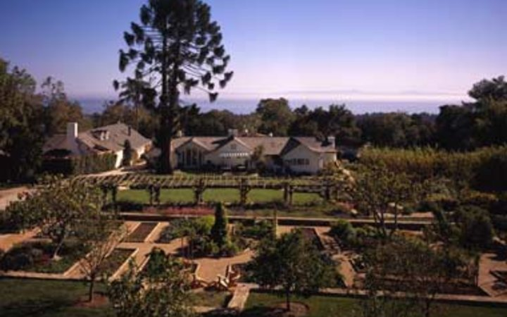 view of the lush gardens at San Ysidro Ranch in Santa Barbara, CA