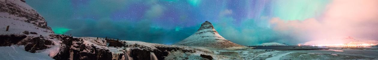 Panoramic View of Kirkjufell Mountain with Aurora, in Iceland