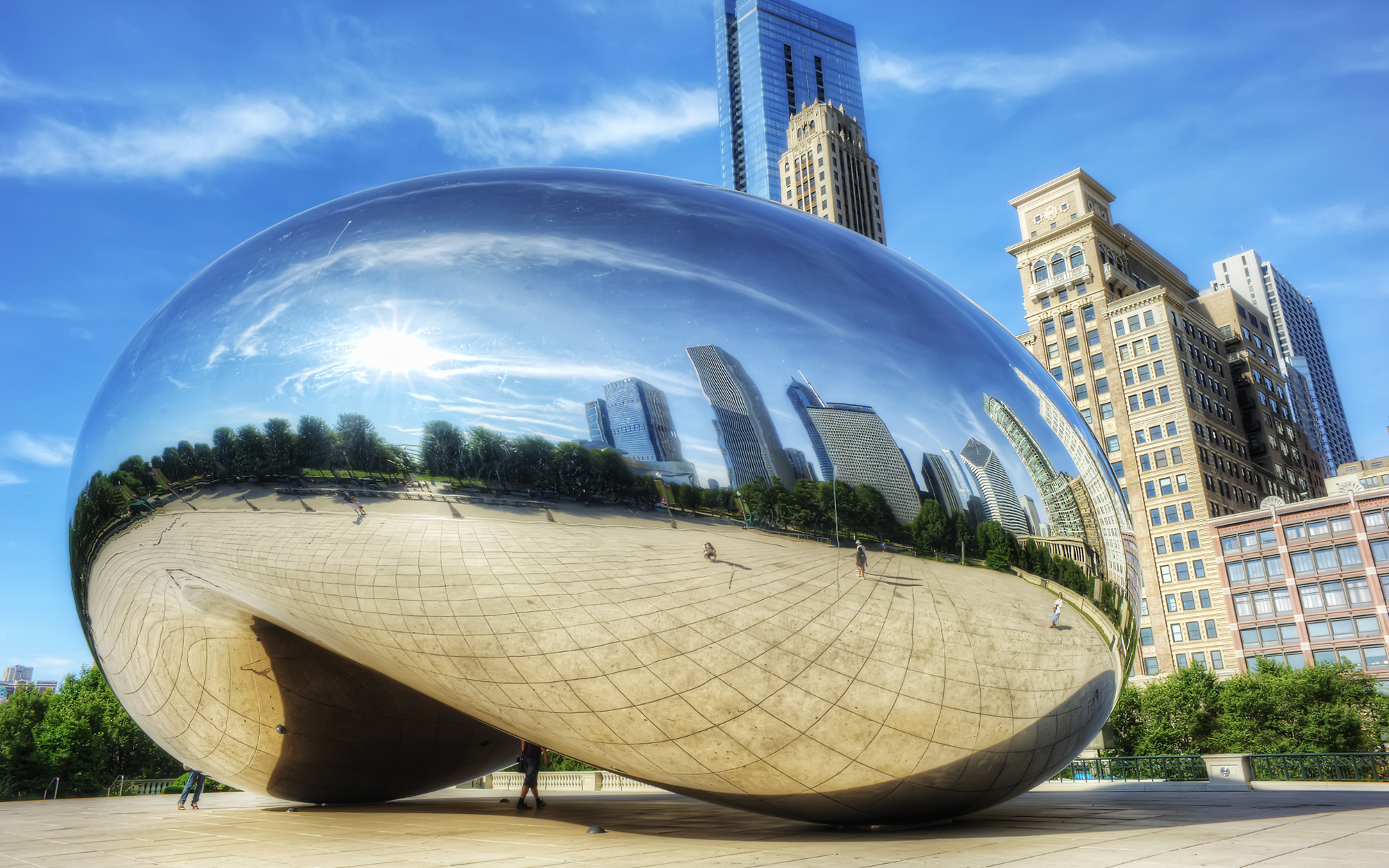 Cloud Gate and The Bean Sculpture in Chicago