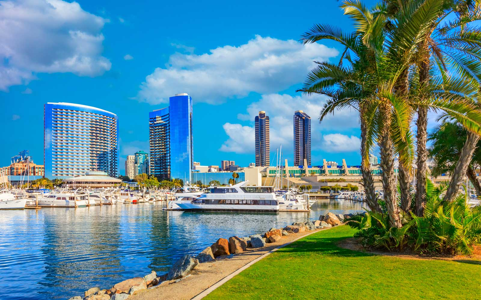 Skyscrapers of San Diego Skyline with reflections and cloudscape