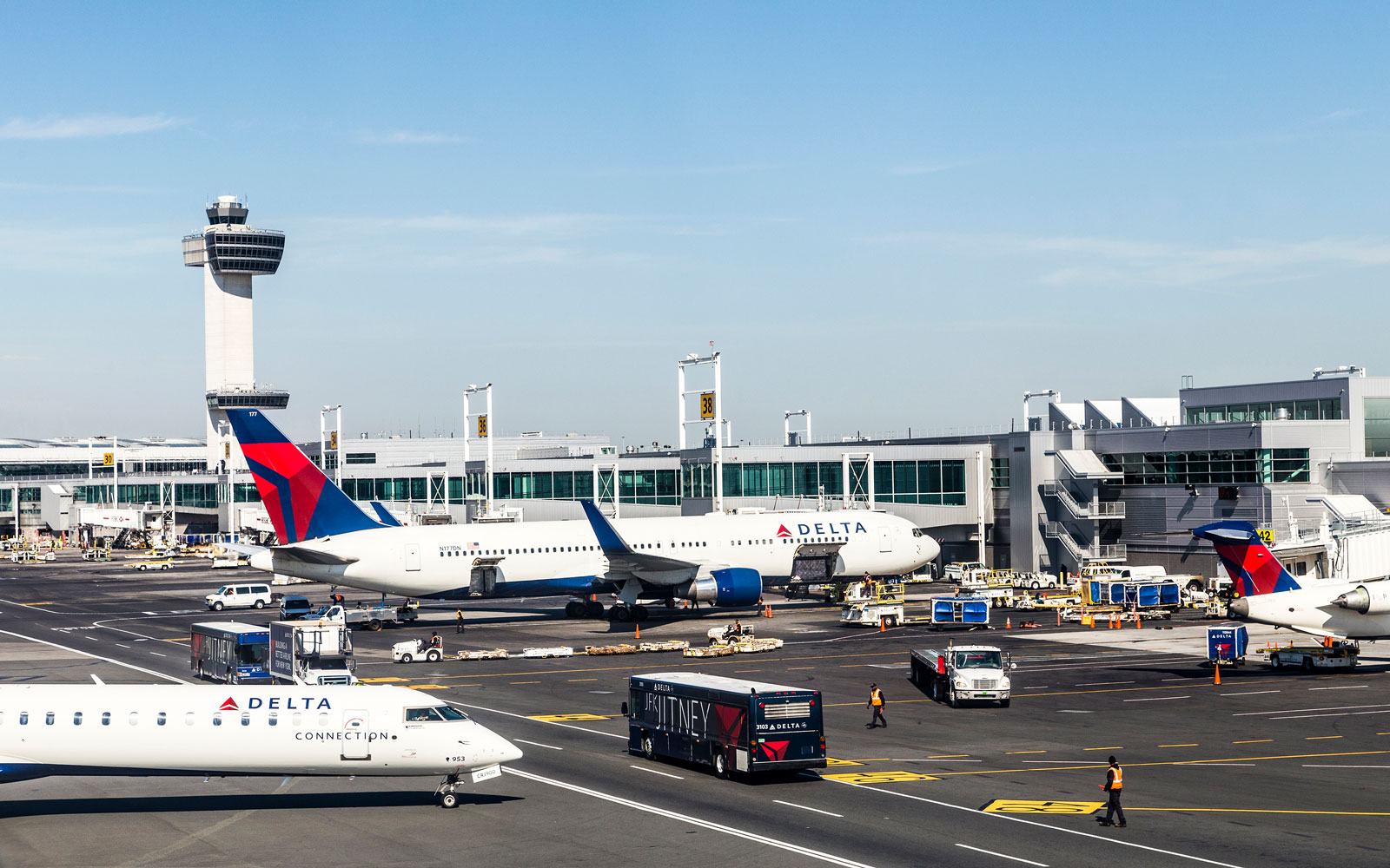 Air Traffic Control Tower and Terminal 4 with Air planes