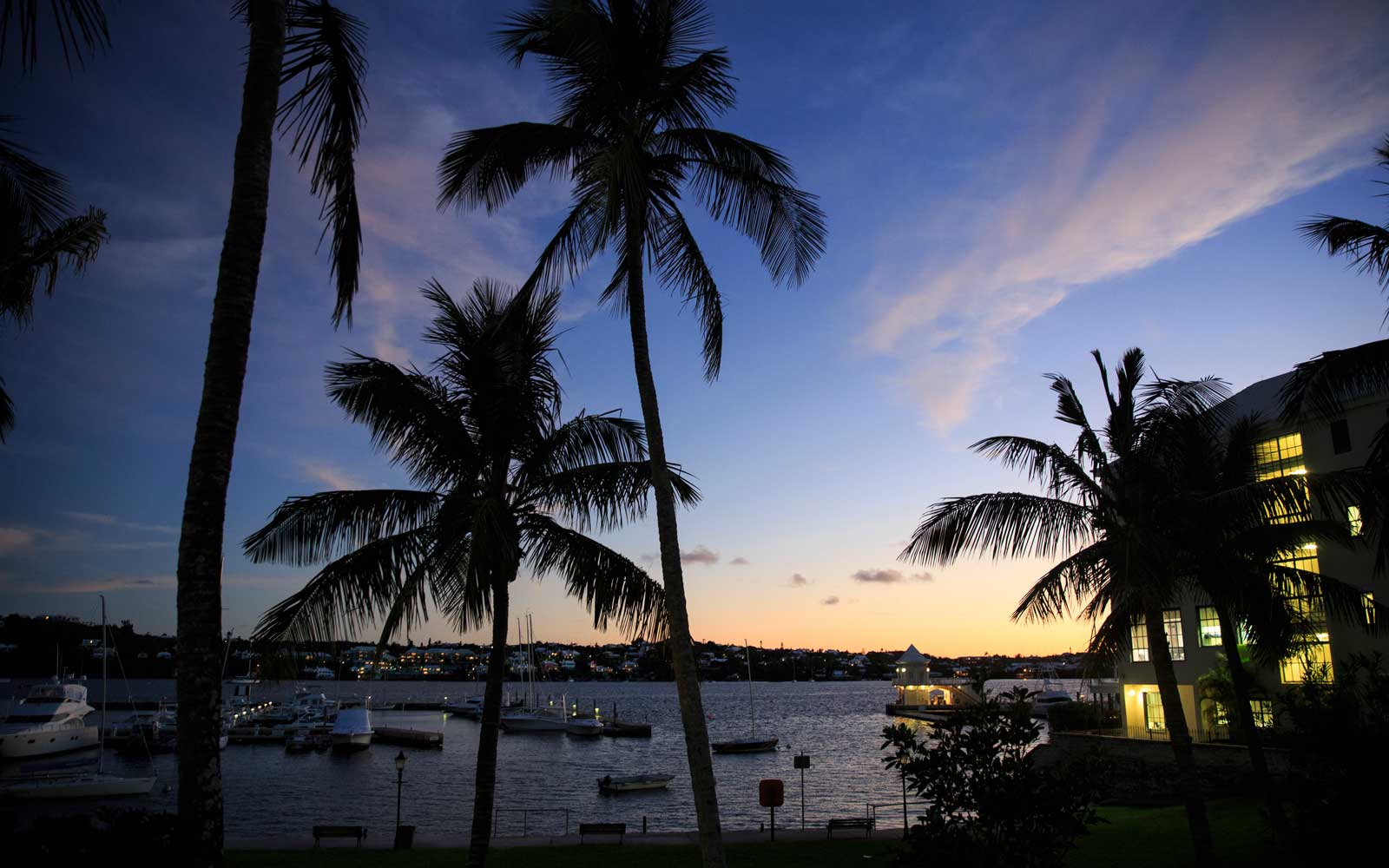 A view of Hamilton Harbour at dusk, November 8, 2017 in Hamilton, Bermuda.