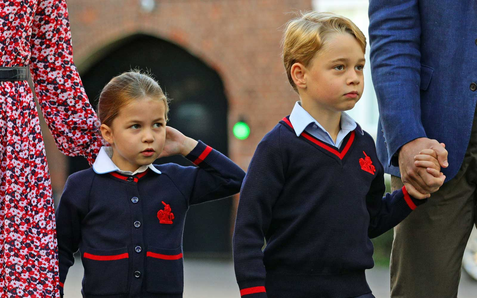 Britain's Princess Charlotte of Cambridge, with her brother, Britain's Prince George of Cambridge in London on September 5, 2019.