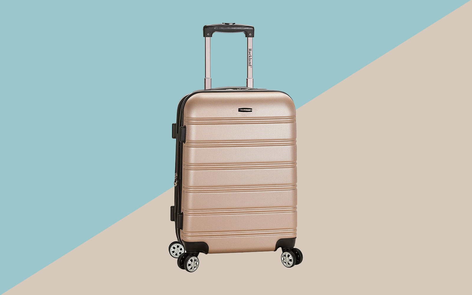 Rockland Luggage Melbourne 20 Inch Expandable Carry On, Champagne Tout