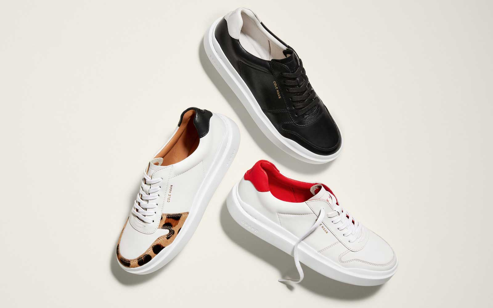 White and Black Leather Women's Sneakers